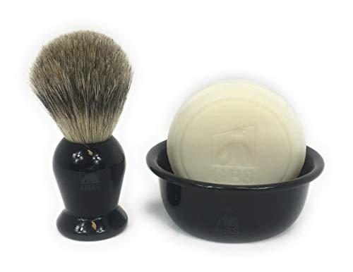 GBS Men's Shaving Set - Black Resin Handle Pure Badger Bristle Shaving Brush, Black Ceramic Shave Soap Bowl & Ocean Driftwood Natural Shaving Soap. Produce Rich Lather for Ultimate Wet Shave