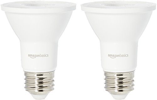 AmazonBasics 50 Watt Equivalent, Bright White, Dimmable, PAR20 LED Light Bulb | 2-Pack