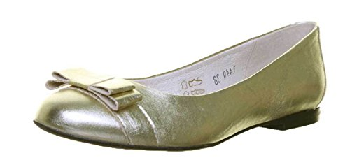 Justin Womens Flat Leather Shoe Bow Metalic Gold All Ballerina Reece rR0Txw5qnr