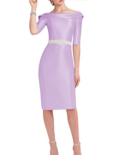 Satin Sheath (Dressyu Simple Satin Sheath 1/2 Sleeve Mother of the Bride Cocktail Dresses Lavender US18W)