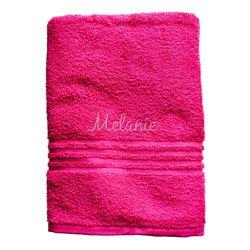 Personalizada toalla de baño – color: rosa, tipo de letra: Athletic, hilo