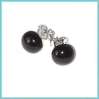 8mm - Black Onyx Gemstone Post-Style / Stud Earrings - silver post (sp)