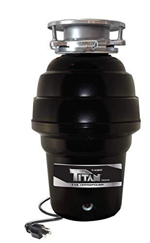 TITAN US-TN-T-1060 T-1060 Garbage Disposal, 1-1/4 HP - Premium, Black