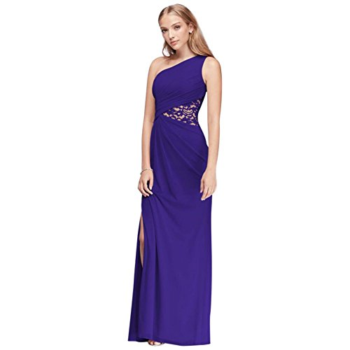 One-Shoulder Mesh Bridesmaid Dress with Lace Inset Style F19419, Regency, 4