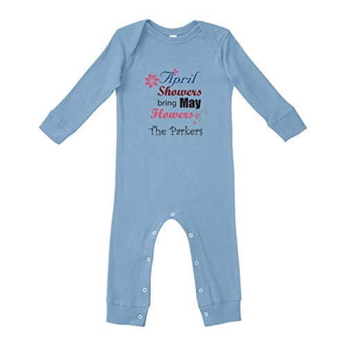 Personalized Custom April Shower's Bring May Flowers Cotton Long Sleeve Baby Bodysuit Legged Long Rib Coverall Boys-Girls - Light Blue, 24 Months