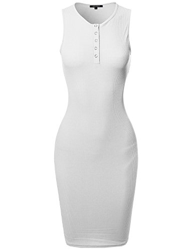 Awesome21 Casual Sleeveless Ribbed Knit Body-Con Henley Dress White Size L