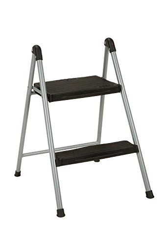Cosco Two Step Steel, Resin Steps, Step Stool without Handle, Platinum/Black (Costco 2 Step Ladder)