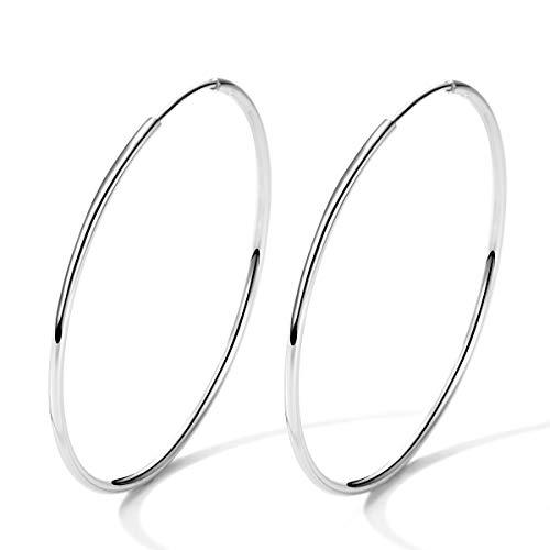 T400 925 Sterling Silver Hoop Earrings Large and Small Thin Lightweight Hoops Christmas Gift for Women 25 35 40 45 50 55 60 65 mm