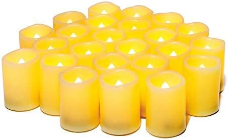 WIFUME LED Votive Flameless Candles 24 Pack Realistic Flickering Battery Operated Battery Powered Electric Electronic Votives in Bulk, Size 1.5 D x2 H Inch Long Lasting Batteries Included