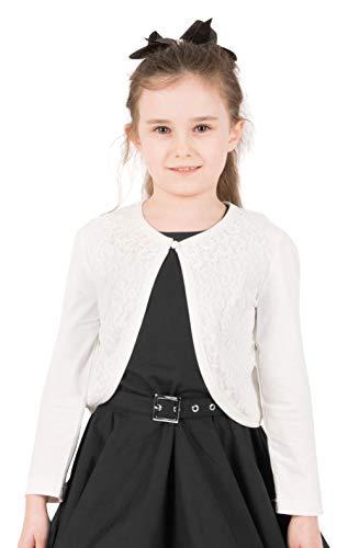 BlackButterfly Kids Long Sleeve Lace Bolero Cardigan Childrens Girls Shrug (Ivory, 5-6 ()