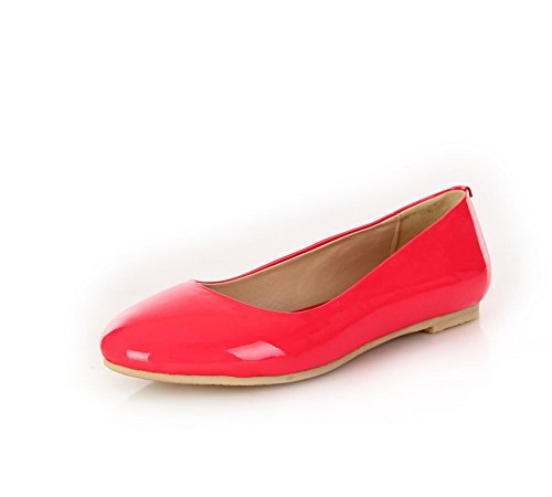 AdeeSu Womens Backpacking Round-Toe Light-Weight Leather Flats Shoes SDC04691 Watermelonred