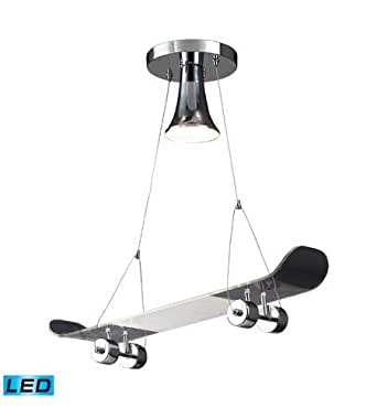 Pendants 1 Light LED With Chrome Finish Skateboard Theme Glass 24 inch 13.5 Watts - World of Lamp