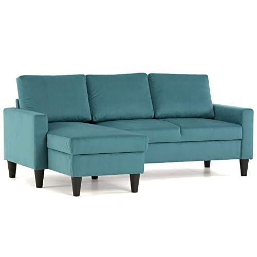 Confort24 Fox Sofá de Salon 3 plazas Chaise Longue Esquinero Rebersible Izquierda o Derecha Tapizado Tela (Turquesa) a buen precio