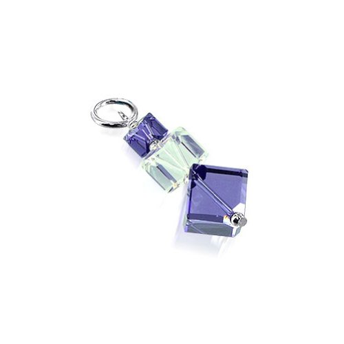 Purple Swarovski Crystal Cube - Gem Avenue Sterling Silver Cube Shape Purple and Clear Crystal Charm Pendant Made with Swarovski Elements