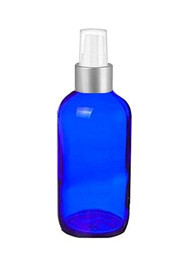 Cobalt Glass 4 Oz Spray Bottles - Perfume Studio Set of 4 Blue Glass Spray Bottles with Brushed Silver Sprayer Tops & Top Seller Perfume Oil Sample (Glass Brushed Top)