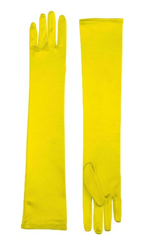 Long Satin Dress Gloves (Yellow) Adult Accessory