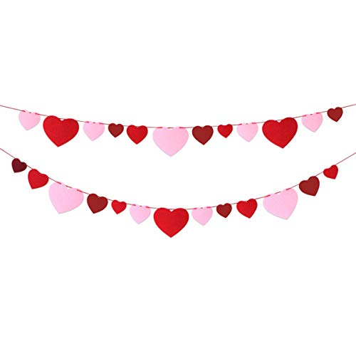 Felt Heart Banner Garland No DIY for Mother's Day Wedding Party Classroom Decoration -