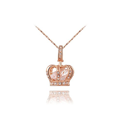 - O4U Diamond Shape Crystal in the Luxurious Crown Rose Gold Plated Pendant Necklace