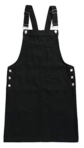 Zengzhiwen Women's Casual Adjustable Straps A-line Bib Pocket Pinafore Overall Dress (Small, Black) (Bib Knee Length)