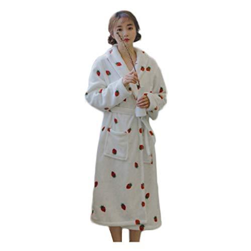 Domicilio De Fresa A Párrafo Cálido Linda Gruesa Blanca Y Damas Servicio Franela Dulce Otoño Primavera Tibia Simple Larga Rosa Continental Cómoda Bata Pink Pijamas Manga fzwgxFqA