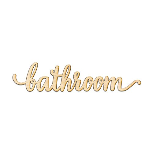 Bathroom Script Wood Sign Home Decor Wall Art Unfinished Charlie 24