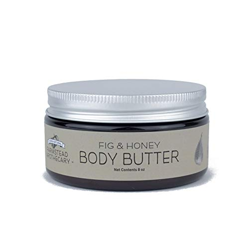 Farmstead Apothecary 100% Natural Body Butter with Organic Safflower Oil, Organic Shea Butter & Organic Vitamin E Oil, Fig & Honey 8 oz