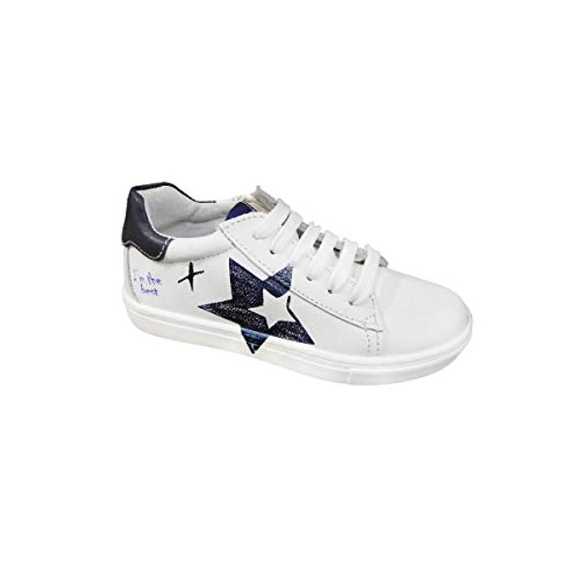 Melania Sneakers In Pelle Con Stella Blu