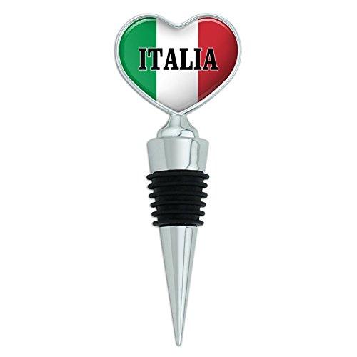 Italia Italy Italian Flag Heart Love Wine Bottle Stopper