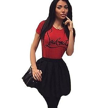 Mujer Camisas y blusas de impresión de mujer de rojo camiseta de manga corta, cuello