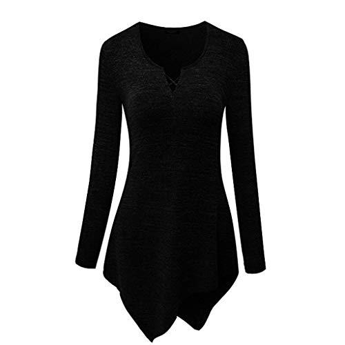XOWRTE Women's Tops Irregular Hem Long Sleeve Shirt Tunic Blouse Casual T-Shirt