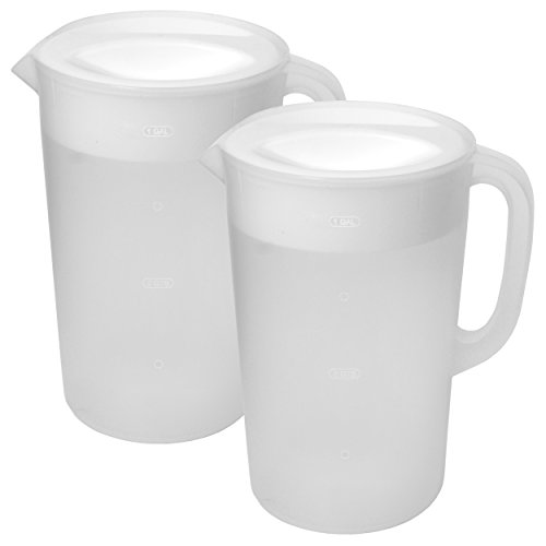 Rubbermaid Clear Pitcher, 1 Gallon 2-pack (Plastic Pitcher Gallon With 1 Lid)