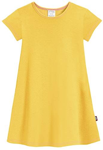 (City Threads Big Girls' Cotton Short Sleeve Cover Up Dress for Sensitive Skin SPD Sensory Friendly, Yellow,)
