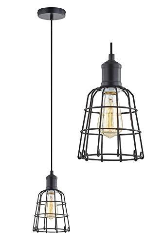 LeeZM Black Cage Pendant Light Industrial Hanging Light Fixture Mini Ceiling Light Hanging Lamp Vintage Pendant Lighting for Kitchen Island, Living Room, Bedroom Retro Style with Adjustable Cord - Mini Hanging Lamp
