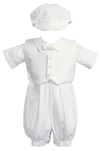 White Poly Cotton Christening Baptism Romper Set with Vest and Hat - Size S (3-6 Month) ()