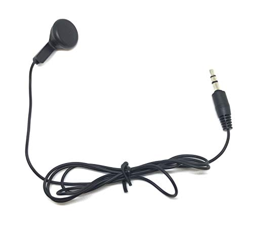 TFD Supplies Wholesale Bulk Single Ear Earbuds Headphones 50 Pack for Phone, Tablet, Laptop, and Computer - Black