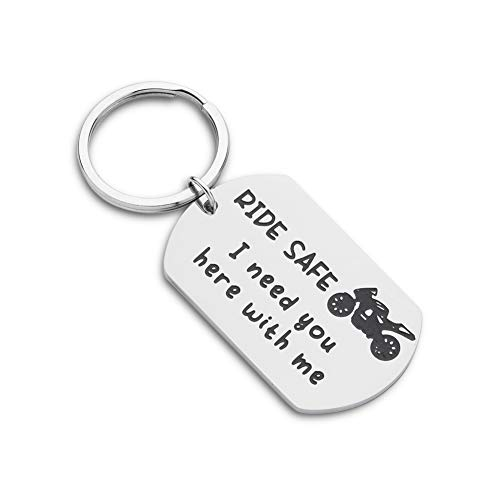 Ride Safe Biker Motorcycle Keychain Gift For Him Boyfriend Husband Dad -Couples Gifts-I Need You Here with Me for New Driver Bike- Graduation Birthday Fathers Day