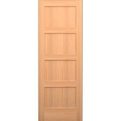 Wood 4 Panel Slab Interior Door Opening Width: 1/6, Species: Red Oak