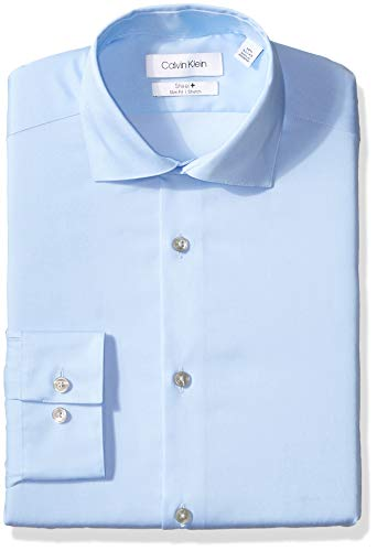 (Calvin Klein Men's Non Iron Stretch Slim Fit Dress Shirt, Light Blue, 16