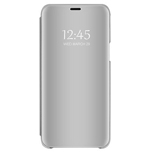 Samsung Galaxy S8 Mirror Case, Slim Metal Electroplate Plating Clear View Flip Leather Holder Phone Cover with Kickstand Hard Protective Anti-Scratch PC Cover for Galaxy S8 Plus (Silver, S8 Plus) ()