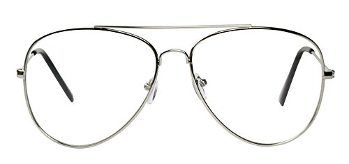 Basik Eyewear - Premium Metal Wire Pilot Teardrop Aviator Clear Lens Eye Glasses (Silver Frame, - Popular Frames