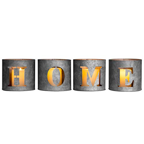 MyGift Galvanized Metal Cutout Home Tealight Candle Holders (Gray Candle Holders)