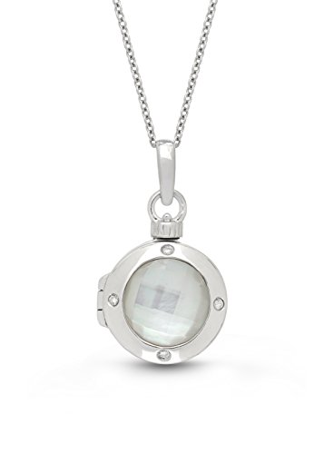 Sterling Silver-Diamond-MOP-Custom Photo Locket Necklace-34-inch chain-The Shelly by With You Lockets by With You Lockets