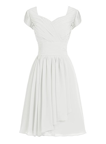 Tideclothes Short Bridesmaid Dress Chiffon Prom Evening Dress Cap Sleeves Ivory US26Plus (Big Poofy Dresses)