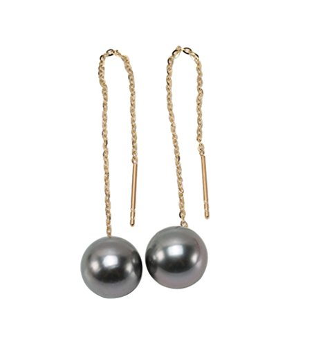 JYX 18K Yellow Gold 9.5mm Black Round Tahitian Cultured Pearl Earrings Long Ear Line Drop Dangle