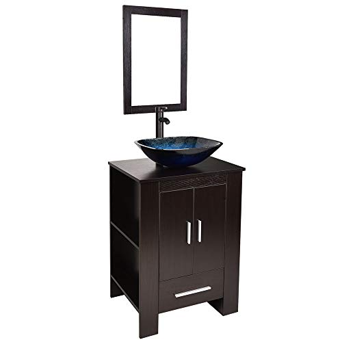 Bathroom vanities 24 inch with Sink - Freestanding Eco MDF Sink Cabinet - Ocean Blue Mirrors Bathroom