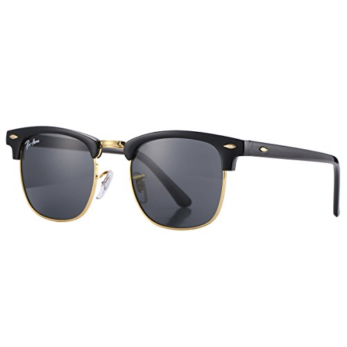 Pro Acme PA3016 Classic Crystal Lens Clubmaster Sunglasses (Black Frame /Black - Logo Sunglasses With Crown
