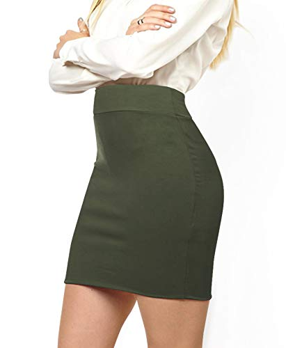 MBJ WB2141 Women's Elastic Waist Stretch Bodycon Midi Pencil Skirt Above The Knee Length Classic Skirt M Olive