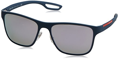 Prada Linea Rossa  Men's 0PS 56QS White/Avio Rubber/Grey Mirror Milky Blue - Sunglasses Prada White