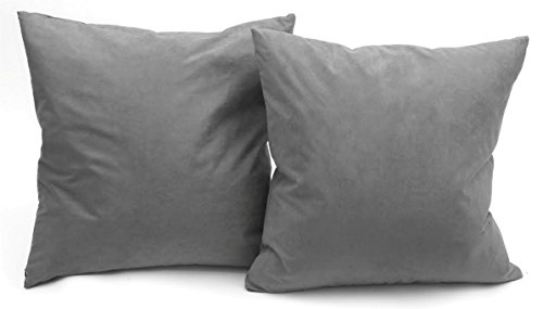 DeluxeComfort MS-18x2-DRKGREY Luxury Micro Suede Solid Color Couch Pillow (Set of 2), 18