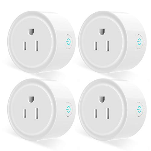 Smart Plug, Aoycocr Wifi Socket Outlet Compatible with Alexa, Google Home and IFTTT, Remote Control, No Hub Required, with Timer Function(4-Pack) (Best Ifttt Google Home)